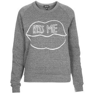 "Topshop NWOT Cropped ""Kiss Me"" Sweatshirt"